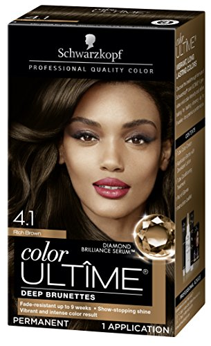 Schwarzkopf Color Ultime Hair Color Cream, 4.1 Rich Brown (Best Copper Hair Dye Box)