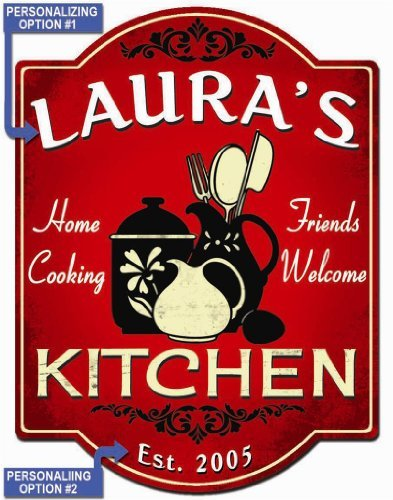 Home Cooking Kitchen - Red Personalized Hardboard Sign