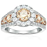 Sterling Silver Round Brown and White Cubic Zirconia Bridal Engagement Ring, Size 8