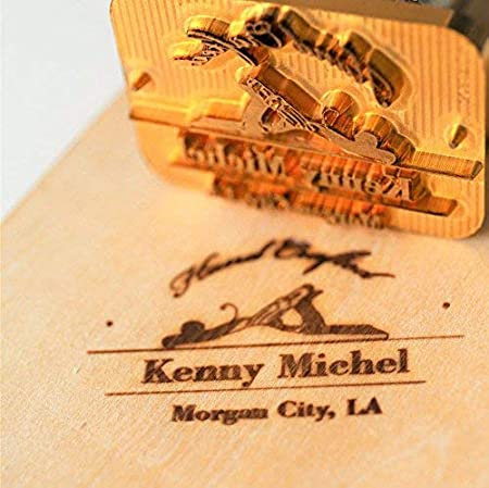 Custom Logo Wood Branding Iron,Durable Leather Branding Iron Stamp,BBQ Heat Stamp Including The Handle,Saw Blade Design Stamp 1.5x1.5