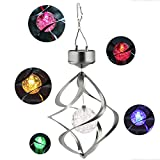 KOBWA Solar Power Wind Spinner Light, Colorful Outdoor Stainless Wind Chime Hanging LED Light, Decorative Sparkling Crystals Gazing Ball Lamp for Window Garden Courtyard Lawn