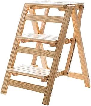 J-Escalera de Tijera Portátil Taburete Taburete plegable Escalera, flor de madera maciza del soporte del estante-Hogar Escala de madera multifunción Ascend cubierta Escalera, 41 × 55 × 67cm: Amazon.es: Bricolaje y herramientas
