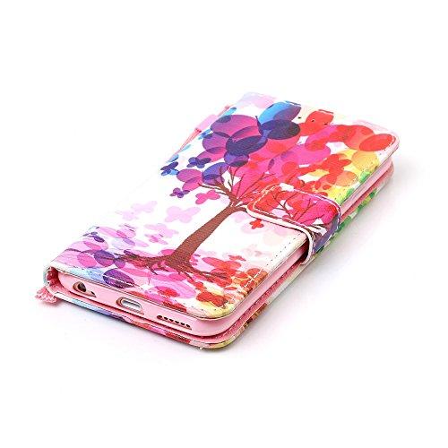 Custodia Apple iPhone 6 6s (4.7) Cover Case, Ougger Albero Portafoglio PU Pelle Magnetico Stand Morbido Silicone Flip Bumper Protettivo Gomma Shell Borsa Custodie con Slot per Schede
