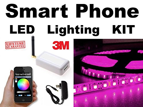 PURPLE - - SmartPhone WiFi controlled LED Lights works with Android & iOS iPhone - - will do ORANGE & ALL other colors - - 16ft complete kit with all parts - - Color Select Home Automation Control