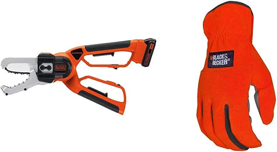 BLACK+DECKER 20V MAX Cordless Chainsaw, Alligator Lopper with Easy-Fit All Purpose Glove (LLP120 & BD505L)