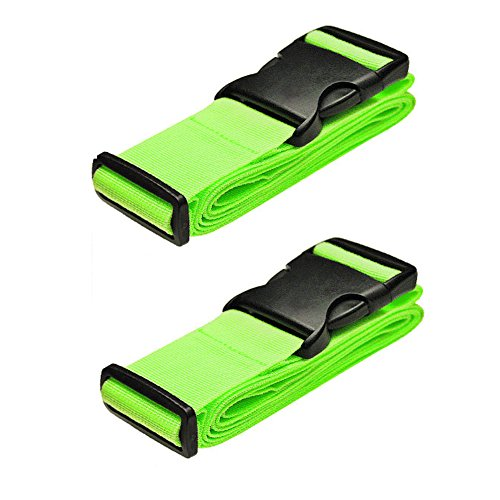 (BlueCosto Luggage Strap Suitcase Belts Travel Accessories, 2-Pack, Green)