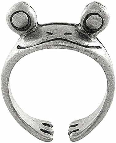 Cute Frog Adjustable Animal Wrap Ring Vintage Silver Tone
