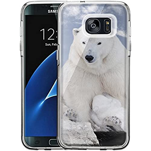 Samsung Galaxy S7 Edge Case, Snap On Cover by Trek Polar Bear on Rocks One Piece Trans Case Sales