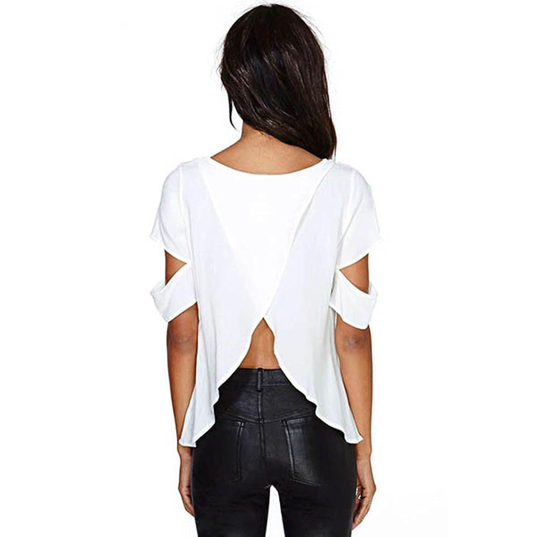 Etosell - Camisas - para mujer Blanco blanco Large: Amazon.es: Ropa y accesorios