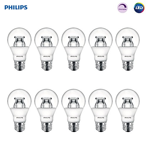Philips LED Dimmable A19 Soft White Light Bulb with Warm Glow Effect: 480-Lumen, 2700-2200-Kelvin, 6-Watt (40-Watt Equivalent), E26 Base, Clear, 10-Pack (Old Generation)