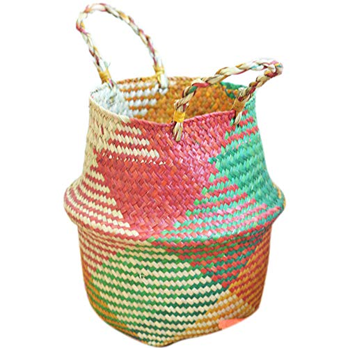 Oldeagle Seagrass Wicker Basket Wicker Basket Flower Pot Folding Basket Home Decoration (22x20cm) (Multicolor)