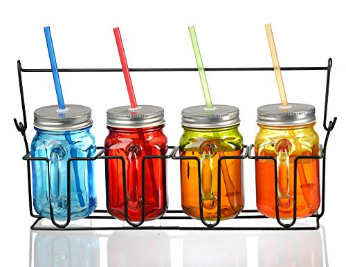 Zeesline Colored Glass Mason Jars Mugs with Handles, Lids &