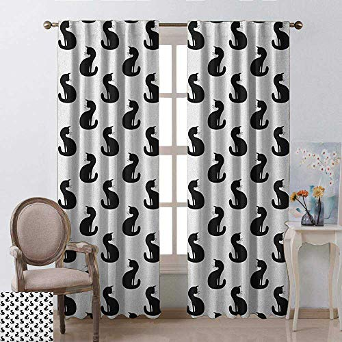 Returiy Cat, Curtains Small Window, Silhouette of a Kitten Monochrome Feline Pattern House Pet Illustration Halloween, Curtains Kids Room, W96 x L108 Inch, Black White -
