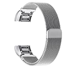 V-Moro Fitbit Charge 2 Band, Large Milanese Loop Stainless Steel Magnetic Metal Bracelet Strap Band With Adapters 6.7-9.5 inches (Milanese Loop Silver)