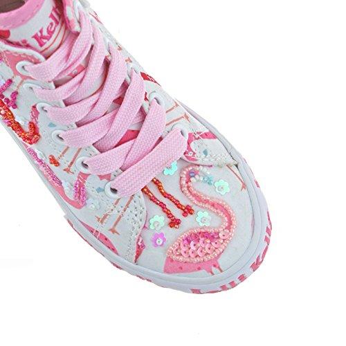 Lelli Kelly LK5090 (BA02) White Fantasy Flamingo Canvas Baseball Boots-27 (UK 9)