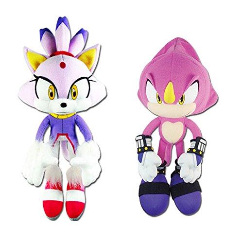 GE Animation Set of 2 Sonic the Hedgehog Blaze the Cat & Espio the Chameleon Stuffed - Blaze Cat