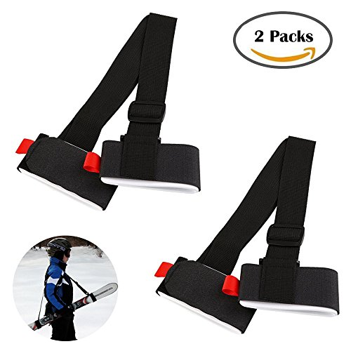 Bestgle Ski Carrier Straps Adjustable Skiing Pole Shoulder Carring Strap Holder with Cushioned Velcro, Strong Sling Lash for Downhill and Backcountry Snow Gear Accessory (2 Packs) by Bestgle