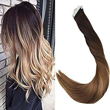 LaaVoo 16 Pulgadas Balayage Tape Remy Hair Extensions Marrón más Oscuro #2 Balayage Rubio Ceniza #18 Silky Straight Piezas de Pelo Humano Real 100 ...