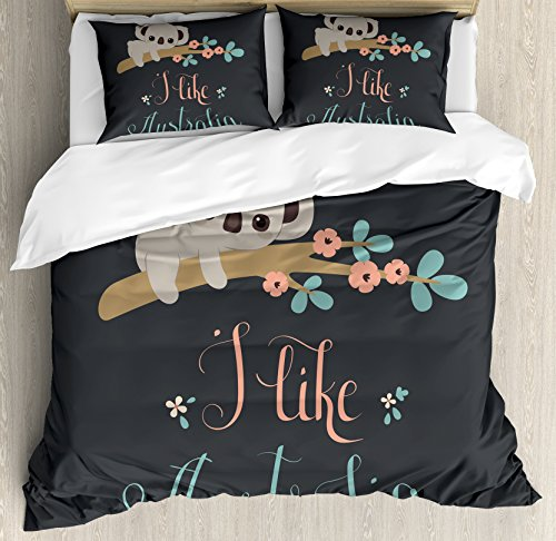 Koala Duvet Cover Set Queen Size by Lunarable, Blooming Floral Tree Branch with a Cute Baby Bear Australian Wildlife Themed Cartoon, Decorative 3 Piece Bedding Set with 2 Pillow Shams, Multicolor