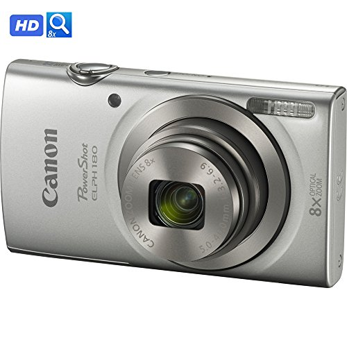 Canon PowerShot ELPH 180 20MP 8x Optical Zoom HD Video Digital Camera (1093C001B) – (Certified Refurbished)