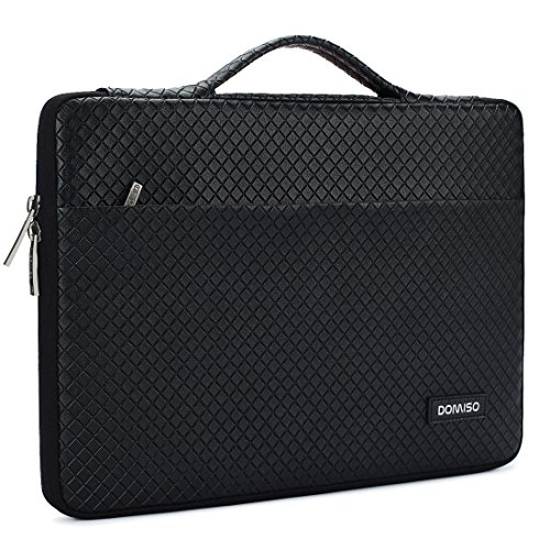 DOMISO 13.3 Inch Waterproof Laptop Sleeve Leather Case Tablet Carrying Bag for 13-13.3 Inch Laptops/MacBook Pro Retina/Dell Inspiron 13 XPS 13/ASUS/Acer/Lenovo/HP, Bright Black