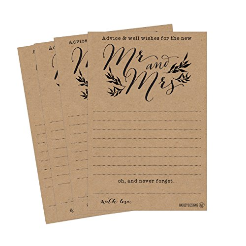 - 50 4x6 Kraft Rustic Wedding Advice & Well Wishes For The Bride and Groom Cards, Reception Wishing Guest Book Alternative, Bridal Shower Games Note Marriage Advice Bride To Be, Best Wishes For Mr & Mrs