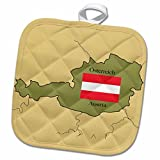 3dRose 777images Flags and Maps - The map and flag of Austria with Austria printed in both English and Austrian. - 8x8 Potholder (phl_37578_1)
