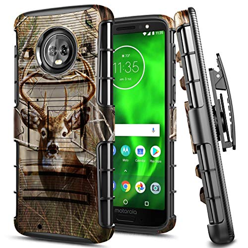 Moto G6 Case, E-Began Belt Clip Holster Kickstand Protective Hybrid Cover Heavy Duty Armor Defender Shockproof Rugged Premium Case for Motorola Moto G6 (2018) / Moto G (6th Generation) (Deer) (Camo Motorola Phone Case)
