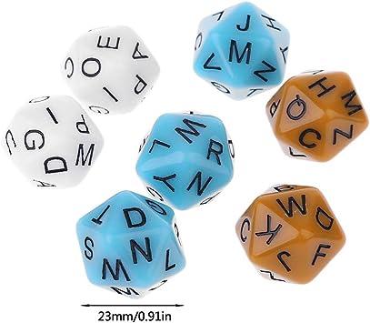 Exing 6 PCS Dados 20 Caras,Alfabeto Inglés Letras Diales Accesorios Juegos De Mesa para Niños Juguetes Educativos: Amazon.es: Hogar