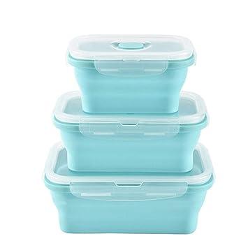 3 Unids/Set Caja de Almuerzo Plegable de Silicona Recipiente de ...