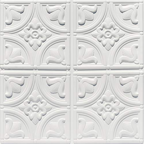 From Plain To Beautiful In Hours 148wm-24x24-25 Tiny Tulips Ceiling Tile White Matte 25