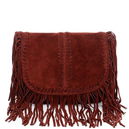 frings leather Bordeaux small BACCINI bag with SARAH blue bag shoulder handbag women`s PYgqvgFUS