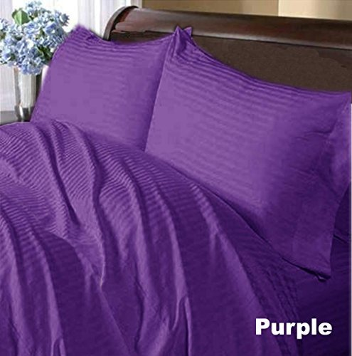 300 Thread Count-- 6PC Sheet Set King Purple Stripe 100% Egyptian Cotton Extra Deep Pocket (18 Inches)-A by Scala Home