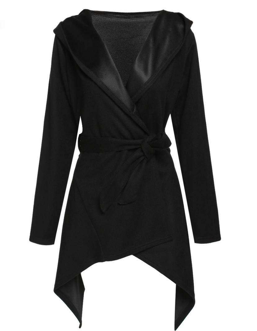 Realdo Women's Cardigan Coat, Womens Vintage Fashion Slim Solid Long Hoodie Irregular Hem Jacket Outwear(Medium,Black)