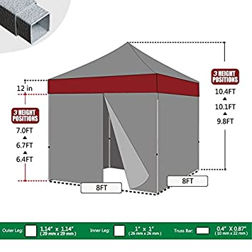 Eurmax 8×8 Feet Ez Pop up Canopy Tent, Pop-up Instant Tent, Outdoor Canopies Commercial Gazebo with Sidewalls Bonus Roller Bag White