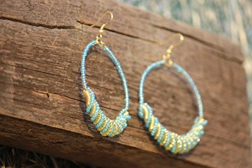 TRIBESMANGOLD--Handmade Turquoise Frisco Inspired BLUE-GOLDEN Color Seed Bead Hoop Earring