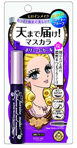 Heroine Make Volume and Curl Mascara Super Waterproof 01 Super Black for Women 0.21 Oz Mascar, 0.21 Ounce (Best Korean Waterproof Mascara 2019)