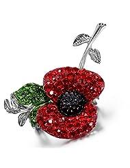 Flongo Women's Stunning Alloy Red Rhinstone Poppy Flower Pin Brooches Brooch - 55 mm