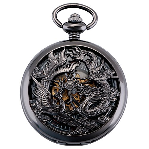 ManChDa Antique Mechanical Pocket Watch Lucky Dragon & Phoenix Retro Skeleton Dial with Chain + Gift Box (Black) from ManChDa
