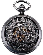 ManChDa Antique Mécanique Montre de Poche Chanceux Dragon & Phoenix voeux Cadran Squelette avec chaîne pour Les Hommes Femmes + Coffret (3.Silver with Gold)