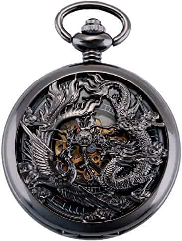 ManChDa Antique Mechanical Pocket Watch Lucky Dragon & Phoenix Black Skeleton Dial Roman Numberals with Chain + Gift Box