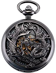 ManChDa Antique Mechanical Pocket Watch Lucky Dragon & Phoenix Retro Skeleton Dial with Chain + Gift Box (1.Black)