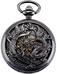 Antique Mechanical Pocket Watch Lucky Dragon & Phoenix Retro Skeleton Dial with Chain + Gift Box (Black)