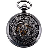 ManChDa Antique Mechanical Pocket Watch Lucky Dragon & Phoenix Black Skeleton Dial with Chain + Gift Box