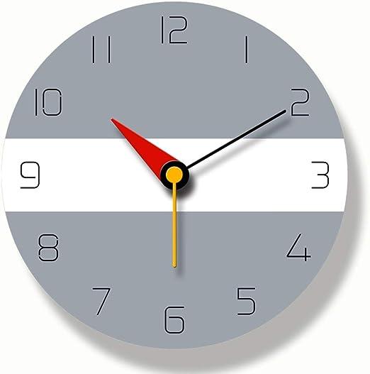 ZHILIAN& Reloj Digital De Pared Gris Redonda, Relojes Decorativos ...