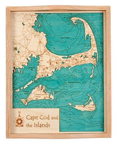 - Candlewood Lake - Fairfield County - CT - 2D Serving Tray 14 x 18 in - Laser Carved Wood Nautical Chart and Topographic Depth map.