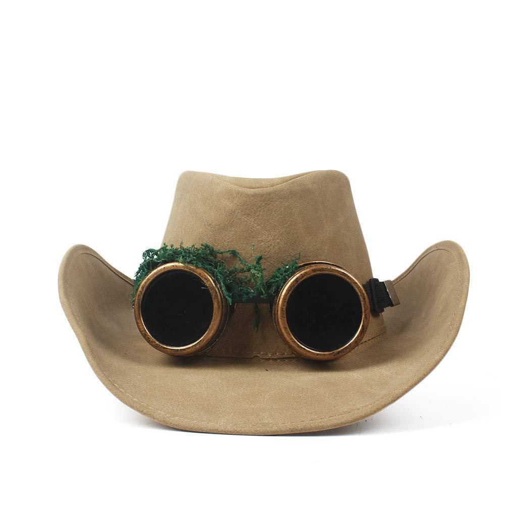 Goodscene Fashion Unisex Winter Hat Quality Fashion Cowboy Hat Faux Leather Metal Decoration Wide Brim Western Men Women Headwear Cap