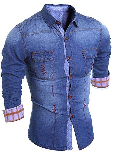 Gathoo Men's Trendy Long Sleeve Printed Button Down Denim Shirts BlueUS-XSmall-(China Large)