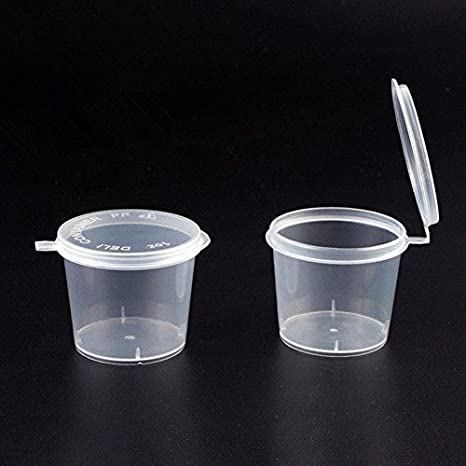 100Pcs Small Plastic Sauce Cups Food Storage Containers Clear Boxes with Lid