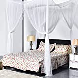 ZENY 4 Corner Post Bed Canopy Mosquito Net Full Queen King Twin Netting Bedding White (White)